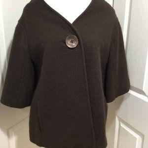 Ellen Tracy Mocha Woolen Blend Cape style Coat 12